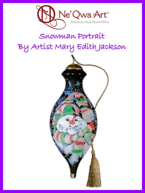Snowman Portrait Ornament by Ne'Qwa Art