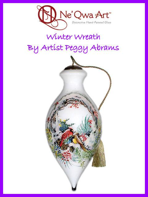 Winter Wreath NeQwa Ornament by artist Peggy Abrams